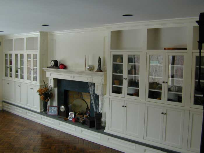 Fireplace W/ Surrounding Cabinets