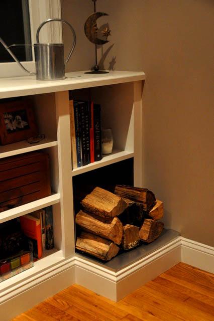 Fireplace Bookshelves with Wood Storage Hudson Cabinet Making