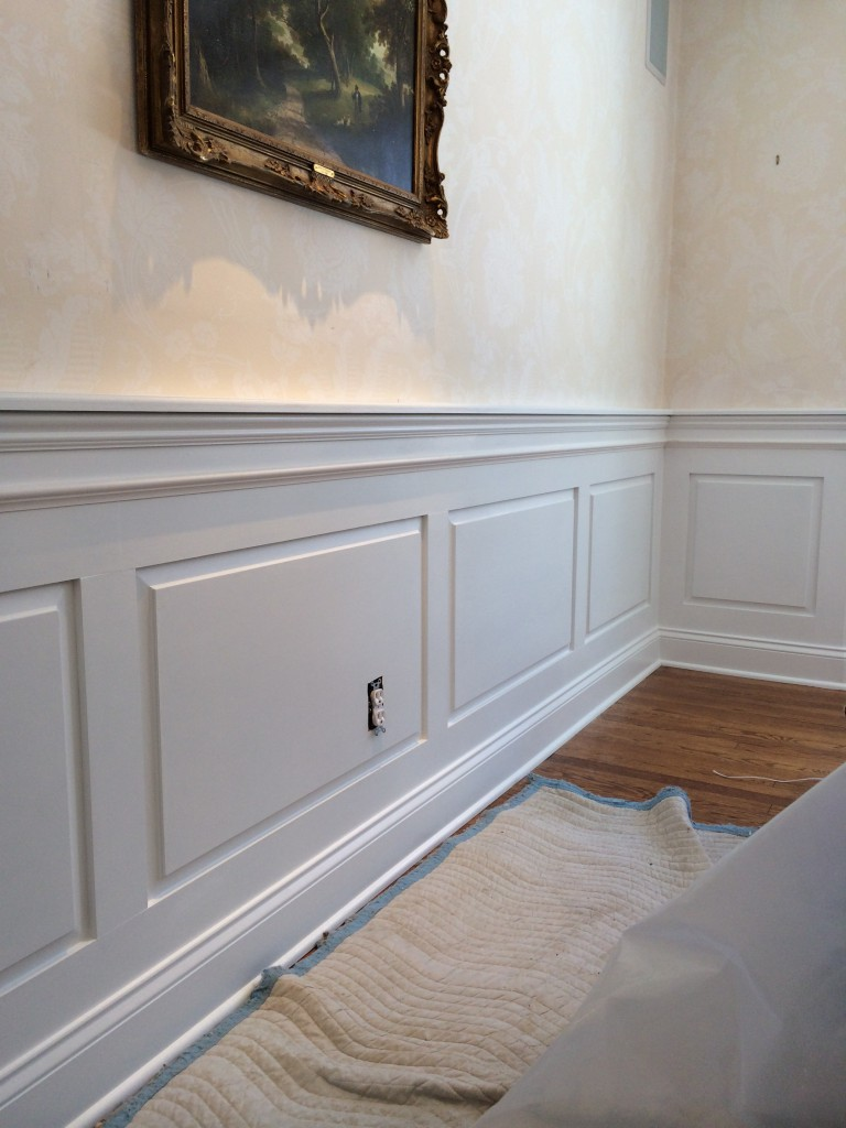 Wainscoting formal dining room -  Installing Panels While Our Painter Began Placing A Final Coat On Those Sections Already Completed Here Are Two Walls In The Dining Room Freshly Done