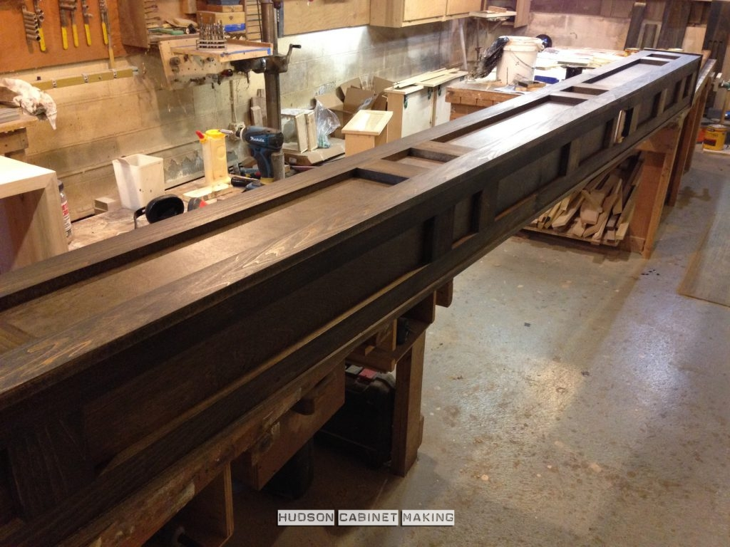 stained ceiling beam before installation
