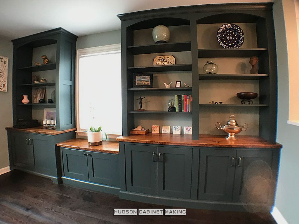 built-in cabinetry with reclaimed wood counter tops