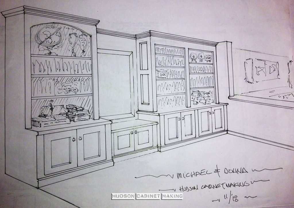 drawing of a proposed wall unit with  reclaimed counter tops