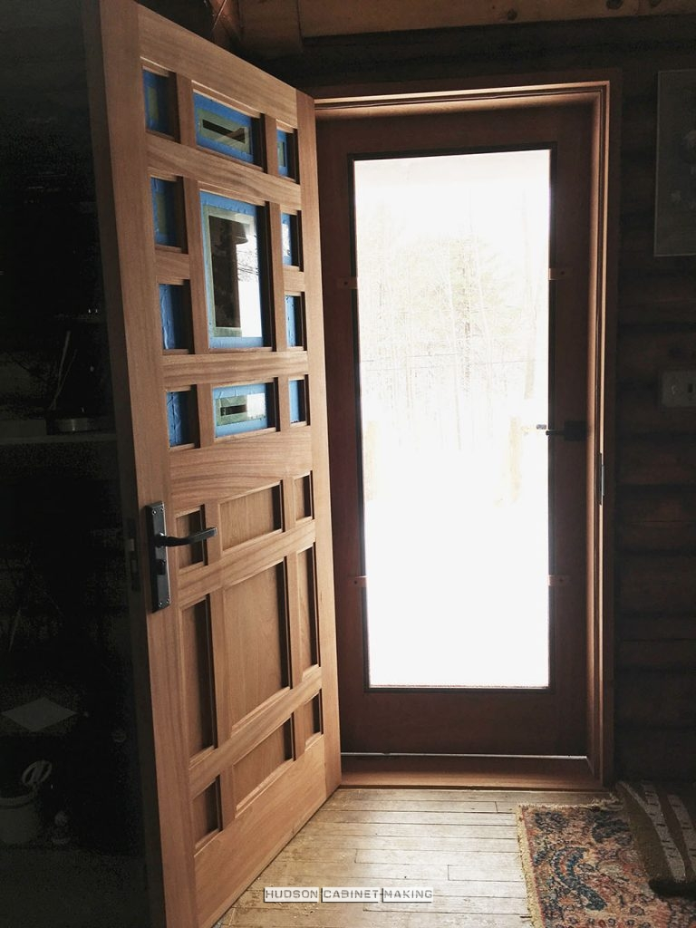 mahogany entry door installed