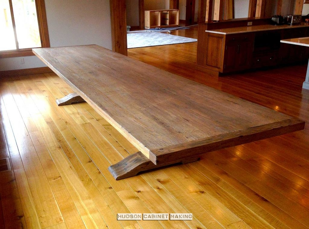 large trestle table stained to look old
